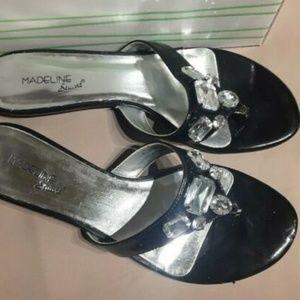 Madeline Stuart Women's Sandals Slides Black Silve